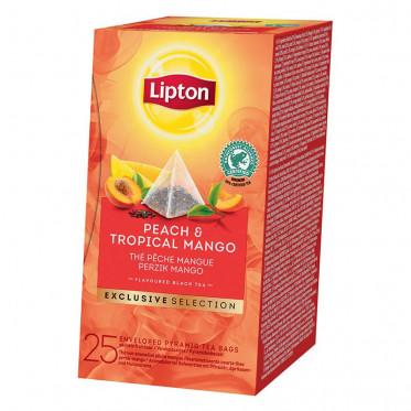 Thé Aromatisé Lipton Exclusive Selection Thé Pêche - Mangue : 25 pyramides