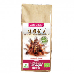 Café moulu Bio Moka Perou - Emballage biodégradable - 200g