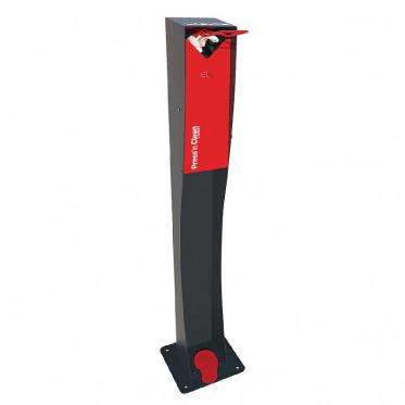 Distributeur de gel hydroalcoolique à pied - Borne de désinfection des mains - Capacité 1 L - Coloris gris