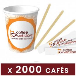 Pack Café - Economique - 2000 gobelets, 1000 spatules, 1000 sucres