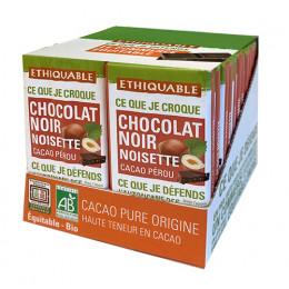 Mini tablette de chocolat noir avec éclats de Noisettes Ethiquable