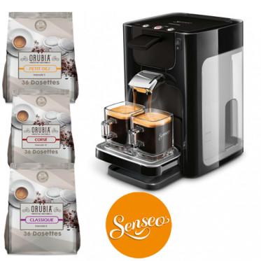 Pack Télétravail Machine Senseo Quadrante Philips Noir + 72 cafés offerts