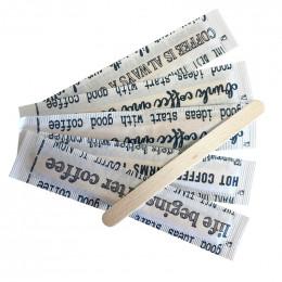 Touillette (spatule) en Bois 105 mm emballage papier individuel - par 100