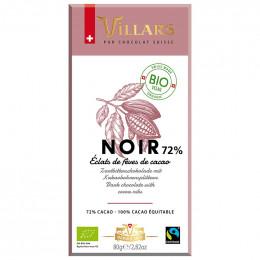 Tablette de Chocolat Noir Villars 72% de Cacao Bio et Equitable - 80 gr
