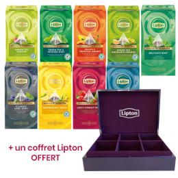 Pack Découverte Thé Lipton Exclusive Sélection - 10 boîtes + un coffret en bois violet OFFERT