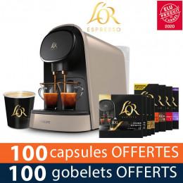 PACK Machine à capsule Nespresso L'Or Barista Philips - Coloris Silky Beige - 200 boissons