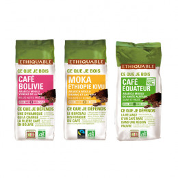 Pack Découverte Café Moulu Bio Ethiquable - 3 paquets - 750 gr