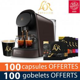 PACK Machine à capsule Nespresso L'Or Barista Philips - Coloris Moonstone Gris - 100 capsules offertes