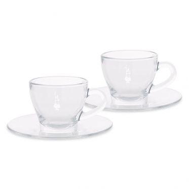 Tasse en verre Bialetti Cappuccino 17 cl avec sous-tasses - par 2