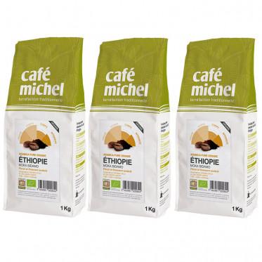 Café en Grains Bio Café Michel Éthiopie Moka Sidamo - 3 paquets - 3 kg