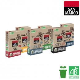 PACK Découverte et dégustation - Capsules San Marco compostables pour Nespresso - 60 boissons