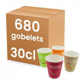 Gobelets en Gros en Carton Double Paroi Enjoy 30 cl : 680 gobelets