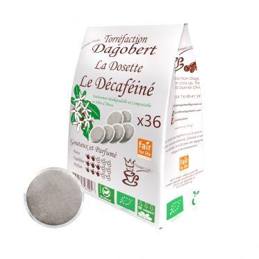 Dosette Senseo compatible Café Dagobert Bio Décaféiné à l'eau - 36 dosettes
