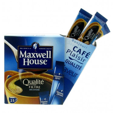 Café Soluble Maxwell House Qualité Filtre Décaféiné - 25 sticks