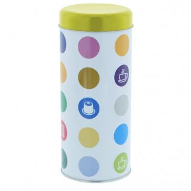 """Boite de conservation pour Dosettes """"Confettis"""" : Jaune - environ 28 dosettes"""