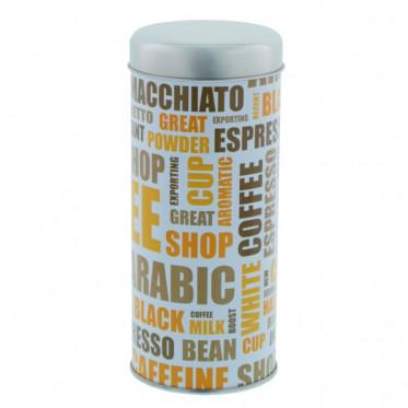 """Boite de conservation pour Dosettes """"Nuage de tags"""" : Blanc - environ 28 dosettes"""
