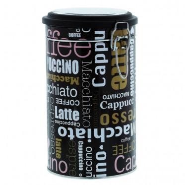 """Boite de conservation Hermétique pour Café """"Nuage de tags"""" : Noire - 500 gr"""
