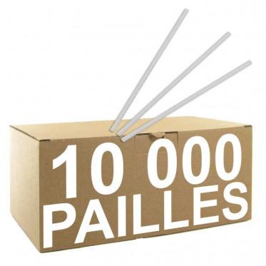 Pailles rigides transparentes x 10 000 pailles