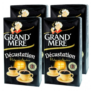 Café Moulu Grand'Mère Dégustation - Lot de 4 paquets - 1 Kg