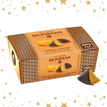 Idée cadeau : Ballotin Quartiers d'oranges au Chocolat Noir Monbana - 200 gr