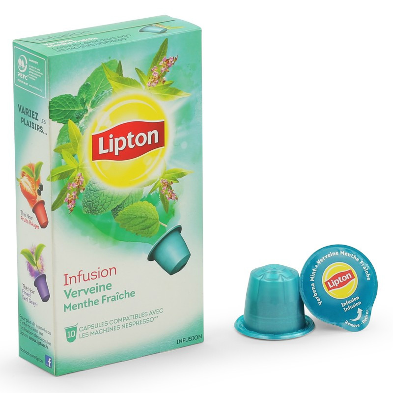 capsule lipton infusion verveine menthe pour votre machine nespresso. Black Bedroom Furniture Sets. Home Design Ideas