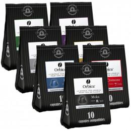 Capsules Nespresso Compatibles Orbica Pack Decouverte - 7 paquets - 70 capsules