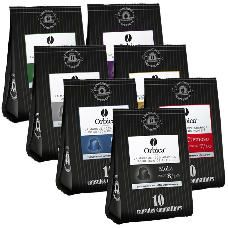 capsules nespresso compatibles orbica pack d couverte 7 paquets 70 capsules. Black Bedroom Furniture Sets. Home Design Ideas