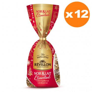 Sachets de Papillotes Chocolat Noir et au Lait Etincelant Révillon - 230 gr - 12 unités