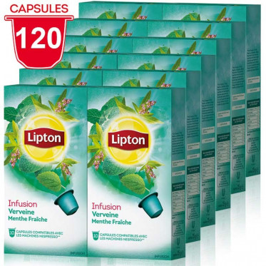 capsule nespresso compatible lipton infusion verveine menthe 12 boites 120 capsules coffee. Black Bedroom Furniture Sets. Home Design Ideas