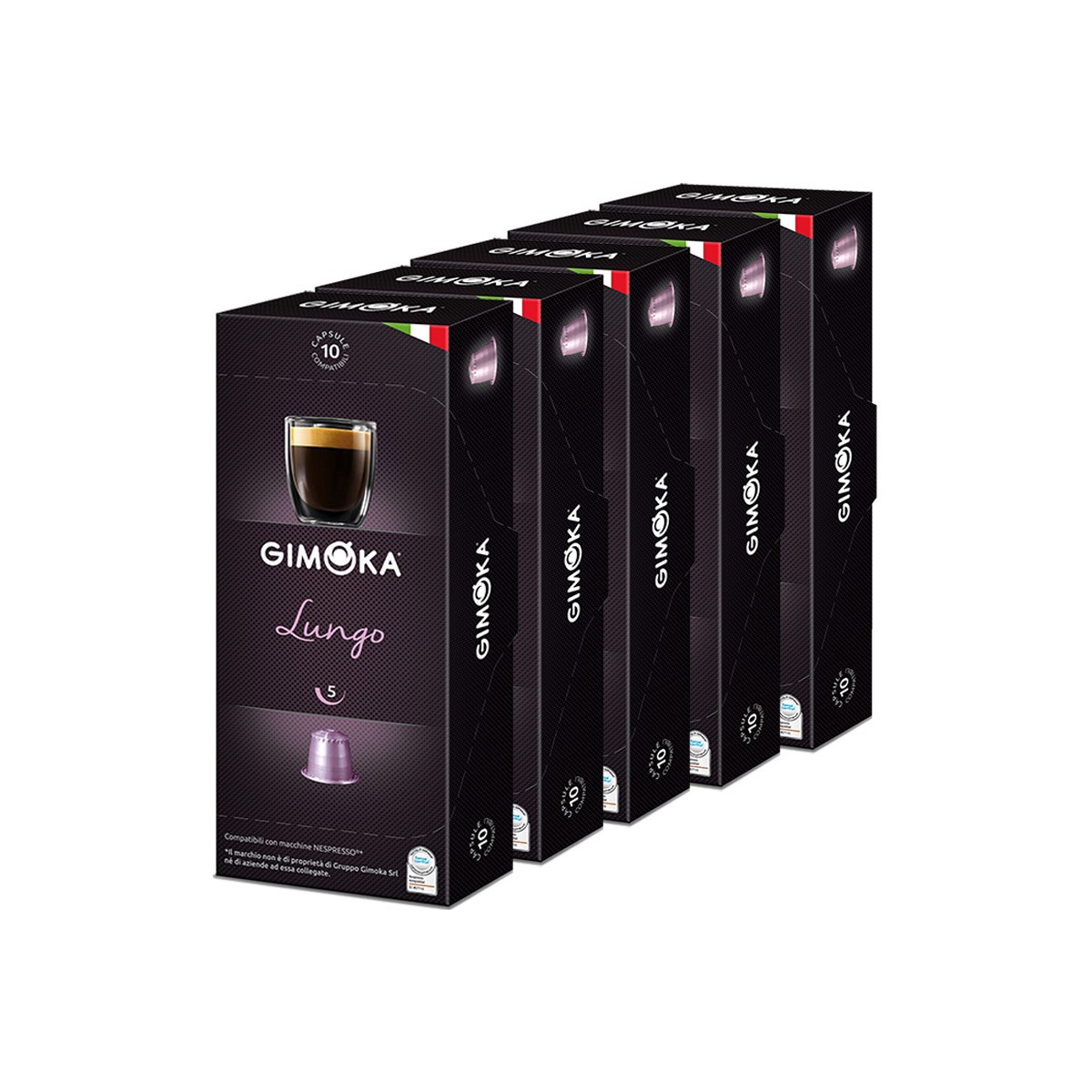 capsule nespresso compatible gimoka lungo 5 boites 50 capsules. Black Bedroom Furniture Sets. Home Design Ideas