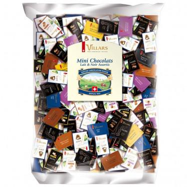 Mini chocolats Villars - Assortiment Noir et Lait 7 recettes (Napolitains) – 2,5 kg