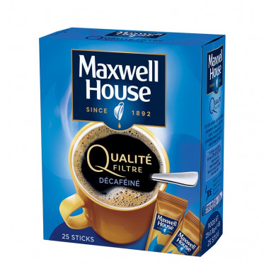 Café Soluble Maxwell House Qualité Filtre Décaféiné 25 sticks