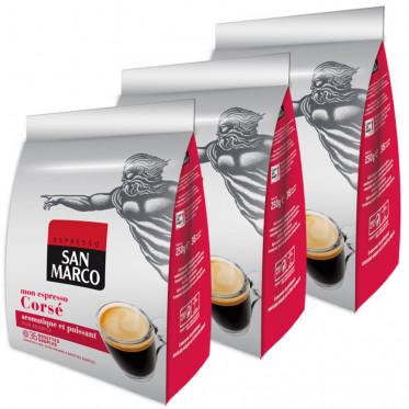 Dosette Souple - Lot de 3 paquets Café San Marco Corsé