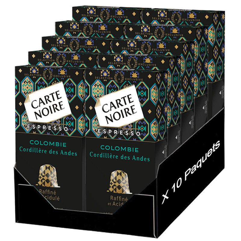 capsule nespresso compatible carte noire cordillere des andes colombie 10 boites 100 capsules. Black Bedroom Furniture Sets. Home Design Ideas