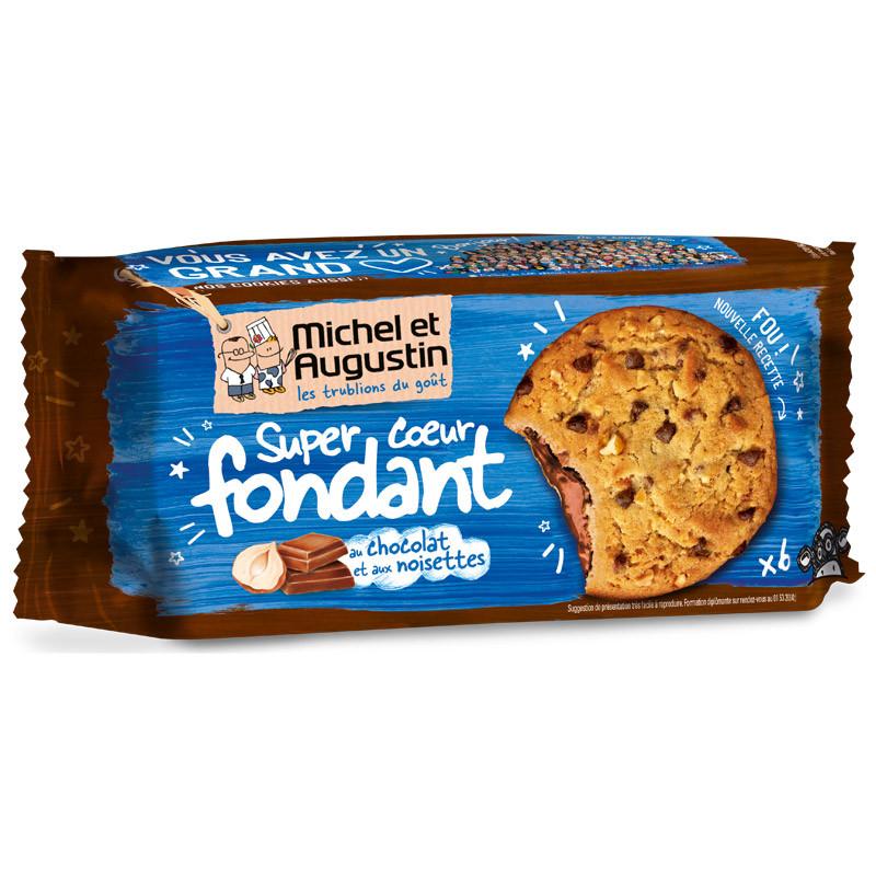 super cookies coeur fondant au chocolat lait et noisettes x6 michel et augustin. Black Bedroom Furniture Sets. Home Design Ideas