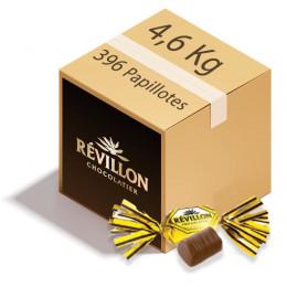 Carton de Papillotes Révillon : Chocolat praliné feuillé - Chocolat au lait - 4,6 Kg