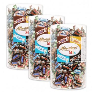 (AA) 3 Tubo Célébration mini Tix, Mars, Bountu, Snickers