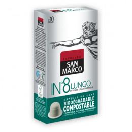 Capsules Nespresso compatible - biodégradable et compostable - N°8 Lungo - San Marco - 10 capsules