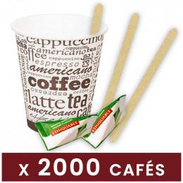 Pack Café - Ecologique - 2000 gobelets, 1000 spatules, 1000 sucres