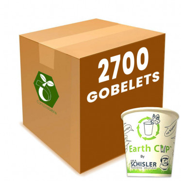 Gobelets en Carton 100% Compostable Home Compost - Earth Cup - 10 cl - par 3000